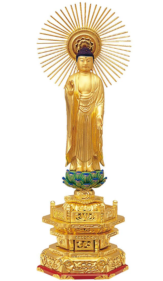 木製 純金箔押 並京型 東立弥陀 肌金粉仕上げ
