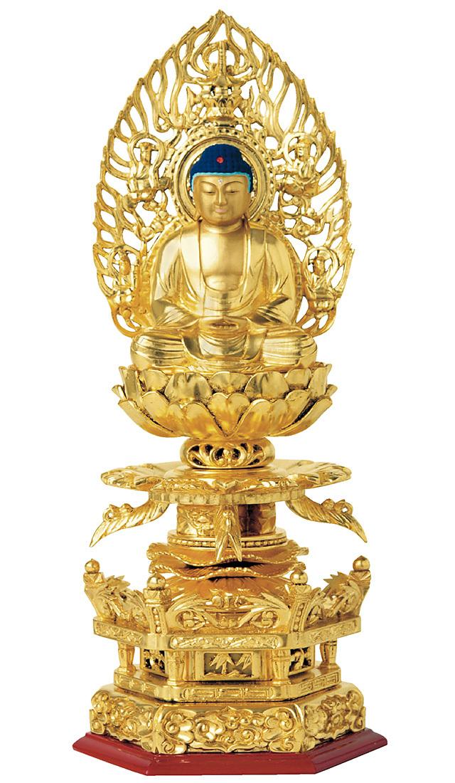 総木製純金箔 京型六角ケマン台座 座釈迦 吹蓮華