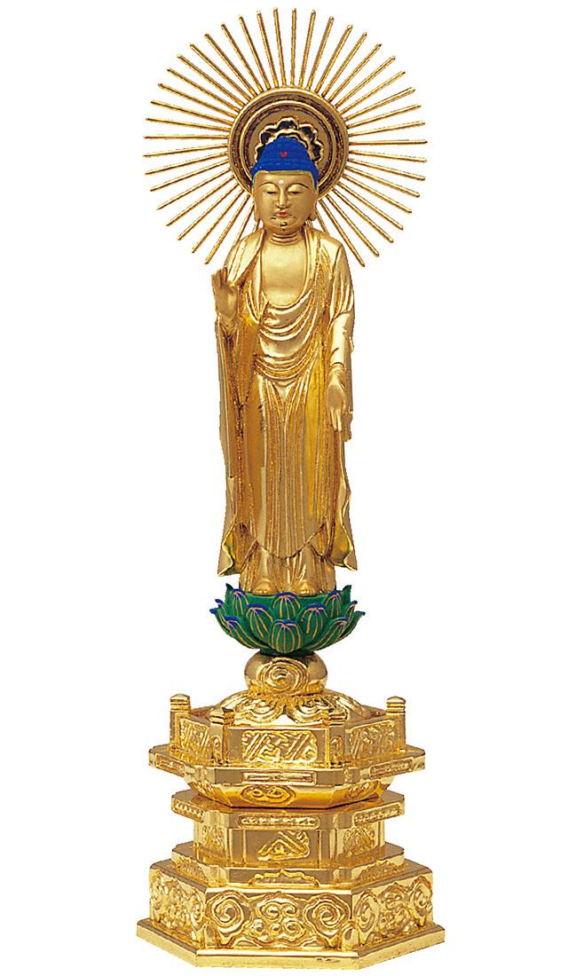純金箔押 中京型 七重台座 東立弥陀 肌金粉仕上げ