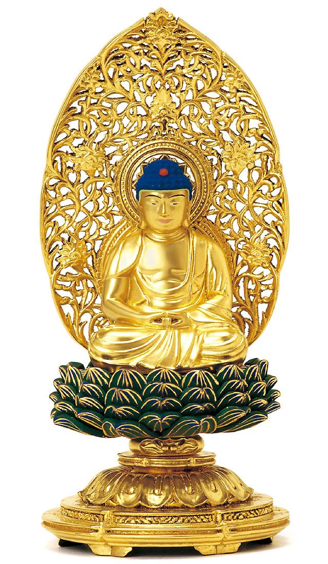 総木製 純金箔 平安丸台 座釈迦 肌粉 青蓮華