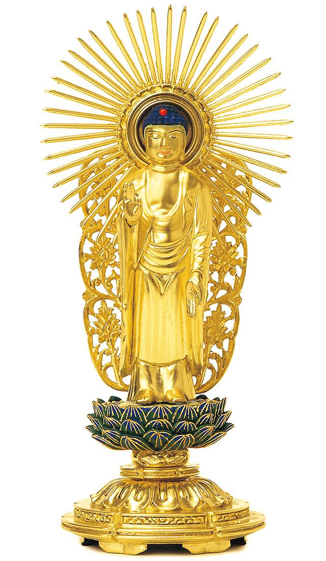 総木製 純金箔押 平安丸台座 西立弥陀 肌金粉仕上げ 青蓮華