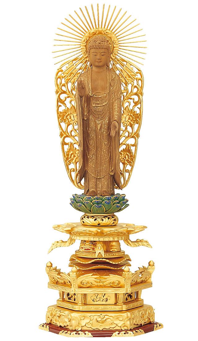 総純金粉 京型ケマン付 七重台座 仏白檀 西立弥陀