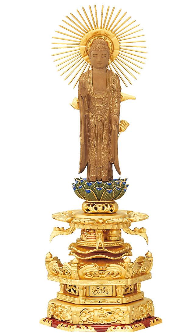 総純金粉 京型ケマン付 七重台座 仏白檀 東立弥陀