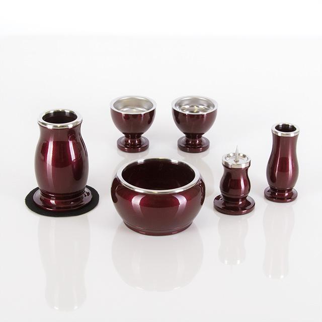 アルミ・ムク ワインレッド 2.5寸~3.5寸 6点セット