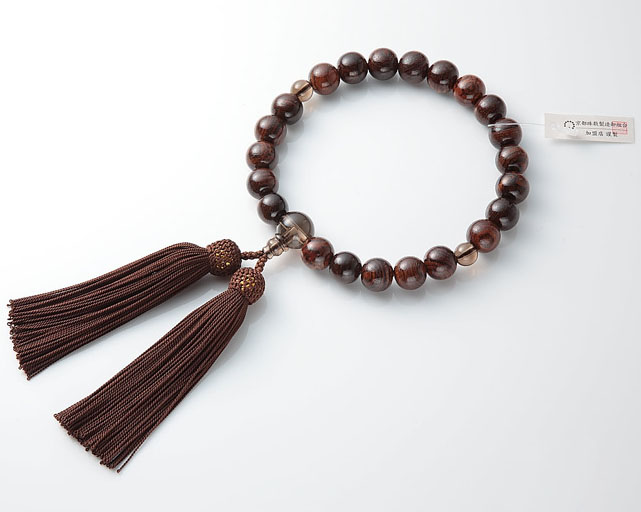 男性用 略式数珠(片手念珠) 虎檀  22珠茶水晶仕立正絹頭