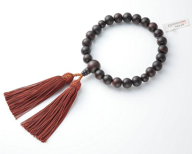 男性用 略式数珠(片手念珠) 素挽黒檀 22珠共人頭