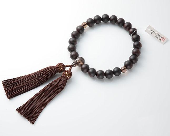 男性用 略式数珠(片手念珠) 素挽黒檀 22珠茶水晶仕立正絹頭