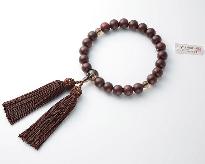 男性用 略式数珠(片手念珠) 素挽紫檀 22珠茶水晶仕立正絹頭