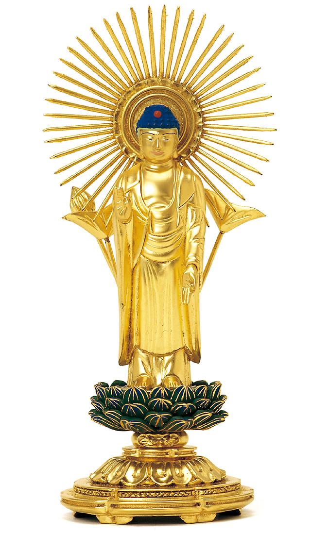 総木製 純金箔押 平安丸台座 東立弥陀 肌金粉仕上げ 青蓮華
