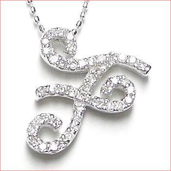 【送料無料♪】 妥協のない高品質全面ダイヤモンド♪ K18ホワイトゴールド フルオーダー 【F】イニシャル ダイヤモンド ペンダント