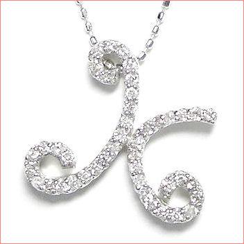 【送料無料♪】 妥協のない高品質全面ダイヤモンド♪ K18ホワイトゴールド フルオーダー 【K】イニシャル ダイヤモンド ペンダント