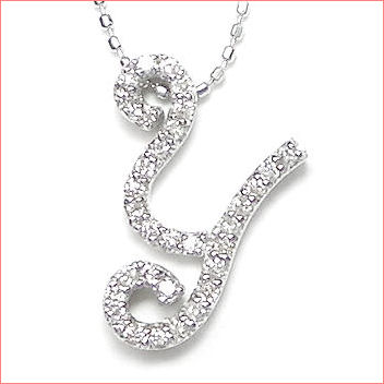 【送料無料♪】 妥協のない高品質全面ダイヤモンド♪ K18ホワイトゴールド フルオーダー 【Y】イニシャル ダイヤモンド ペンダント