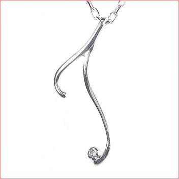 【送料無料♪】 K10ホワイトゴールド/K10ピンクゴールド/K10イエローゴールド フルオーダー 【T】イニシャル ダイヤモンド ペンダント