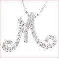 【送料無料♪】 妥協のない高品質全面ダイヤモンド♪ K18ホワイトゴールド フルオーダー 【M】イニシャル ダイヤモンド ペンダント