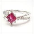 【即日発送可!鮮やかなピンクカラーが素敵♪】 K18ホワイトゴールド ルベライト/ダイヤモンド リング RWG023OBG