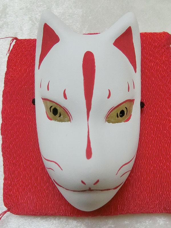 小きつね面(白・赤彩色)