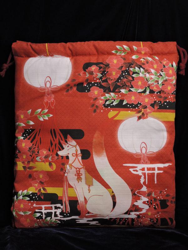 巾着「狐と椿」(狐面用)