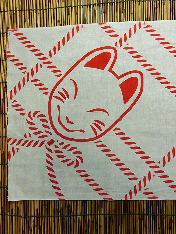 狐面堂手拭い「狐の紐あそび」