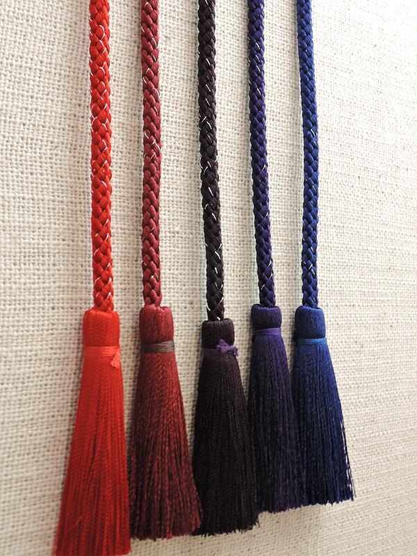 江戸打ち房付き紐・中太|銀糸