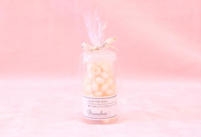 Branebaさんの 『贅沢に国産山羊ミルクを使った リッチ山羊ミルクボーロ 』 小麦粉不使用なので、グルテンフリーです☆可愛いボトルで持ち運びも便利です♪