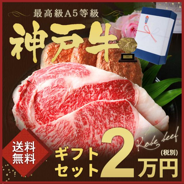 神戸牛ギフトセット 2万円 ステーキ・ハンバーグコース(サーロインステーキ1枚[200g]・リブロースステーキ1枚[300g]・ハンバーグ3個[150g×3])