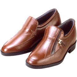 背が高くなる靴 カンガルー革モカスリッポン(ブラウン)【No635】5cmUP