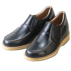 背が高くなる靴 牛革カジアルアップ'70スリッポンサイドゴア(ブラック)5.5cmUP No523