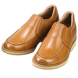 背が高くなる靴 牛革カジアルアップ'70スリッポンサイドゴア(キャメル)5.5cmUP No523