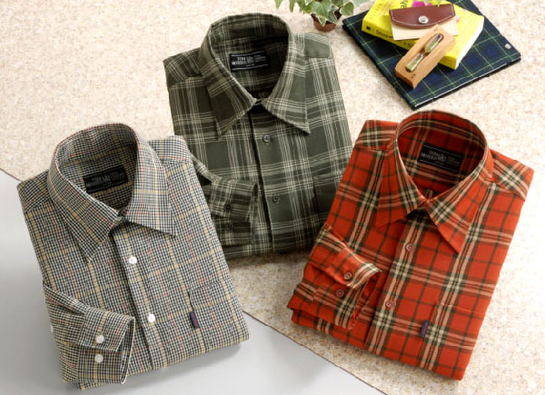 トムモリス ウォッシャブルウール混カジュアルシャツ単品☆重ね着にもおすすめのチェック柄シャツ。オフの日もお洒落に