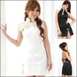 チャイナドレス 黒・白☆大人っぽいブラックと、清楚で可憐なホワイトのミニチャイナの画像