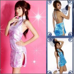 マイクロミニチャイナドレス ブルー・ピンク☆背中が大きく開いたマイクロミニタイプのチャイナドレス♪
