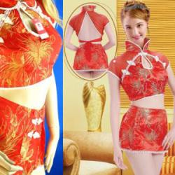 ミニスカートのチャイナドレス赤838[1000618581]☆女性なら一度は着てみたい真っ赤なチャイナドレス!