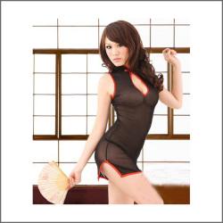 悩殺チャイナドレス黒924[1000618583]☆透け感のある素材で、セクシー度アップ!の画像