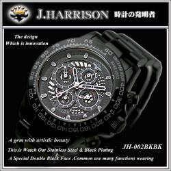 J.HARRISON ジョンハリソン JJH?002BKBK1 【送料無料】☆ジョンハリソンらしい存在感あふれるスタイリッシュな腕時計!の画像