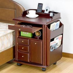 サイドテーブルワゴン(ハイタイプ)☆ベッドサイドやリビングに最適なハイタイプのテーブルワゴン!の画像