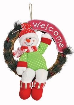 《完売》Xmasウェルカムリース スノーマン☆クリスマス気分を盛り上げるクリスマス雑貨