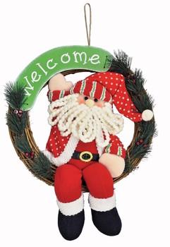 《完売》Xmasウェルカムリース・サンタ☆クリスマス気分を盛り上げるクリスマス雑貨