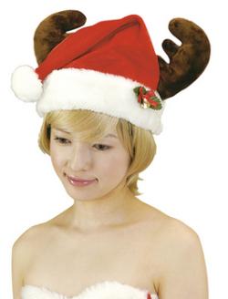 トナカイサンタ帽子☆トナカイの角付きサンタ帽子 パーティーグッズ 仮装 コスプレ イベントの画像