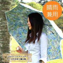 シルバーコーティング晴雨兼用レース付き傘☆紫外線98%!《晴雨兼用》体感温度-6℃!の画像