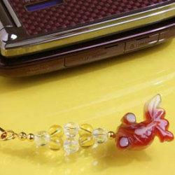金運金余(きんぎょ)ストラップ・赤メノウ(携帯ストラップ チャーム)の画像