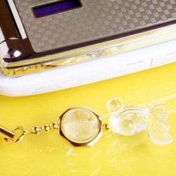 無欲金余(きんぎょ)ストラップ・水晶(携帯ストラップ チャーム)の画像