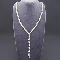淡水真珠Y字フリーネックレス(ホワイト) 166038の画像
