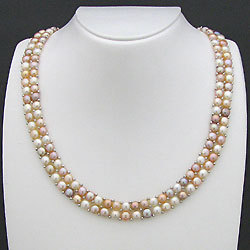 淡水真珠ボタンパール2連ネックレス(マルチカラー) 01036886の画像