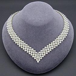 淡水真珠V字編みネックレス 157085☆綺麗なV字ラインが魅力的の画像