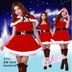 パニエ内蔵ワンピ・フード付サンタ☆イベントやクリスマスパーティーに♪コスプレの画像