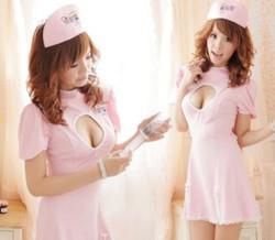 ナース服*背中蝶リボンピンクの看護婦コスプレ3点セット☆イベントやクリスマスパーティーに♪コスプレの画像