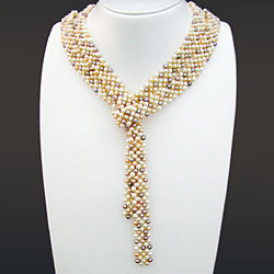 淡水真珠平編みラリエット(マルチカラー) 1038606【送料無料】の画像