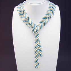 淡水真珠平編みラリエット(ホワイト&ライトブルー) 166039【送料無料】の画像