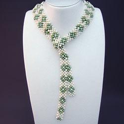 淡水真珠平編みラリエット(ホワイト&グリーン) 166161【送料無料】の画像