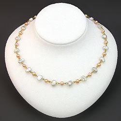 淡水真珠ネックレス(ケシ&オレンジ) 1038842の画像